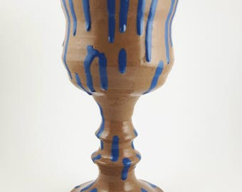 Stoneware Goblet with Blue Drip