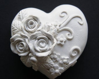 plaster heart with roses