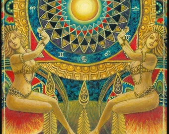 The Wheel of Fortune 5x7 Greeting Card Tarot Art Pagan Mythology Psychedelic Gypsy Goddess Art