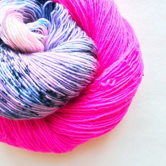 POWER PUFF hand dyed yarn. speckle and semi-solid