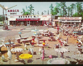 Brown's Amoco Gas Station Postcard Rocky Mount North Carolina Lawn Ornaments Gas Pumps NC Roadside Travel Memorabilia PC