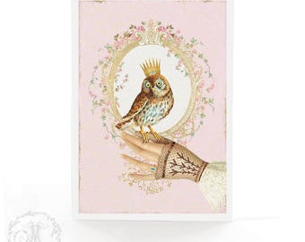 Owl card, friendship card, birthday card, crowned bird, Victorian gloved hand, blank, all occasion card