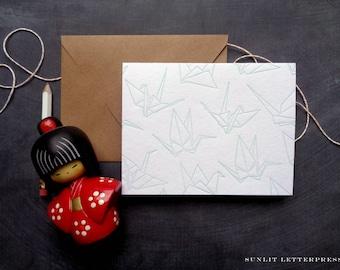 Origami Crane, Origami Card, Origami Crane Card, Origami Paper Cranes, Origami Print, Origami Stationery, Origami Crane Note, Crane Card