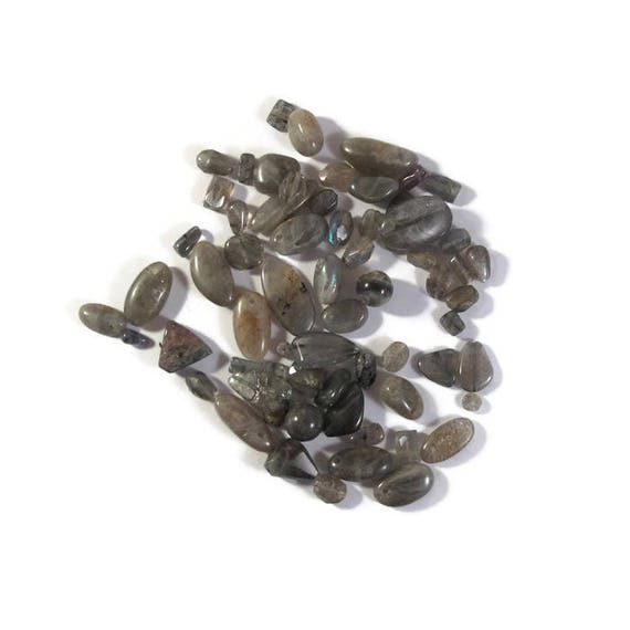 Gemstone Bead Mix, Gray Gemstone Grab Bag, 65 Beads for Making Jewelry, Assorted Shapes and Sizes (L-Mix17b)