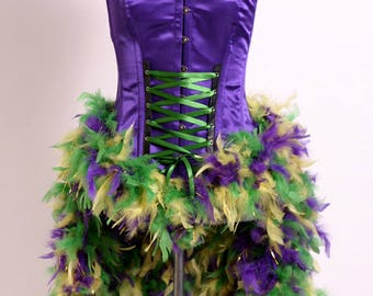 Mardi Gras Masquerade Corset Couture Size Large 8-10 Purple Green Gold Steel Boned Feather Bustle Sequin Trim Ships ASAP
