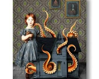 Dollhouse Octopus Nautical Portrait Print Digital Art Surreal Home Decor Beach House Squid Lovecraft Blue Orange Green
