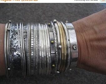 Sale Chunky Wabi Sabi ..... Sterling Silver Bangle Bracelet