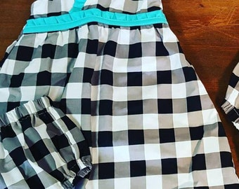 Sweet Summer Dress, Little Girl Flower Dress, Aqua Red Vintage Farmhouse, Ruffles Pin Dot Black And White Gingham Ready to ship
