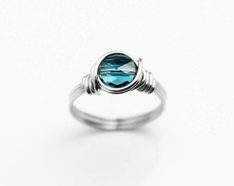 Swarovski Ring - Stainless Steel Ring - Promise Ring - Bohemian Rings - Blue Crystal Ring - Stackable Rings For Women - Wire Wrapped Ring