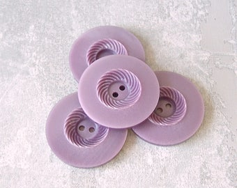 Carved Purple Buttons, 34mm 1-1/4 inch - Pastel Purple Swirlback Sewing Buttons - 5 VTG NOS Etched Lilac Purple Swirl Plastic Buttons PL204