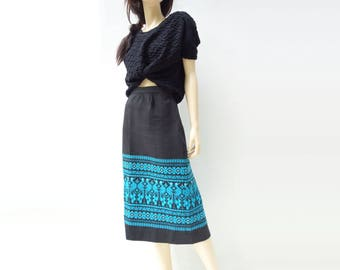 1960s Ethnic Skirt Ethnic Pencil Skirt 60s Mexican Skirt Black Cotton Skirt Handwoven Skirt Ethnic Turquoise 1960s Pencil Skirt Size Large