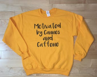 Motivated by Canines and Caffeine graphic hand printed sweatshirt jumper hipster trendy funny saying women girl ladies gift dogs coffee