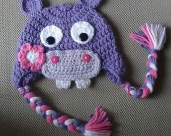 Lavender Hippo hat crochet
