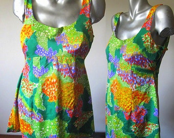 Vintage 70s Lane Bryant Plus Size Skirted One Piece Swimsuit Size 14/16