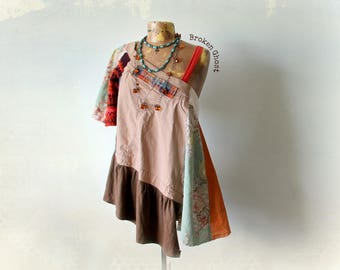 Patchwork Tunic Layered Blouse Funky Boho Shirt Rustic Art Top Gypsy Clothes Women's Hippie Top Eco Recycled Earth Fall Colors L 'CALIOPE'