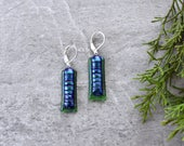 Evergreen Fibroid Dichroic Glass Earrings