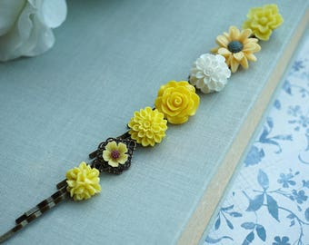 Yellow Flower Hair Pins White Bobby Pins Romantic Vintage Style Sunflower Shades of Yellow Floral Hair Accessories Bobbies Vintage Summer