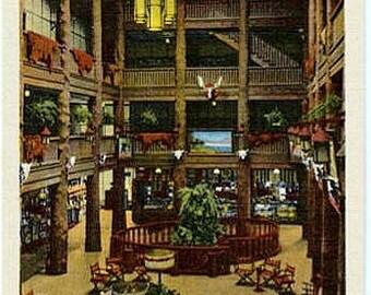 Vintage Montana Postcard - Lobby of the Many Glacier Hotel, Glacier National Park (Unused)