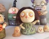 "UPDATED: Walkin' the glow in the dark ghosts OOAK handmade Halloween polymer clay sculpture 3"" tall"
