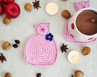 Pig Coasters -Crochet Coasters - Kids Coasters - Pink Pig - Baby Shower Gift - Baby Boy Gift - Gift for Kids - Nursery Decor - Set of 2