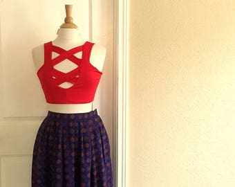 Vintage VIOLET Blue And Red Geometric Skirt With POCKETS / 80s Liz Claiborne / Womens SMALL