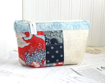 Cosmetic Bag Makeup Bag Red White and Blue Patchwork Zipper Pouch Organizer