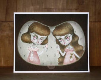 Creepy Twins - numbered and signed 8x10 Fine Art Print giclee - Pop Surrealism Lowbrow art by KarolinFelix - open edition, unframed