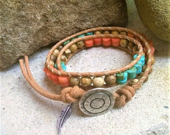 Wrap Bracelet UTAH 'Tribe' Double Wrap Leather,Turquoise magnesite,Orange Coral and Picture Jasper, 925 feather charm,Native American style