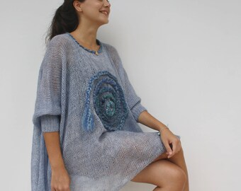 Hand Knitted Denim Blue Loose Knit Swater / Oversized Blue Wool Poncho / Knitted Long-Sleeved Blouse / Handknit Wool Pullovers