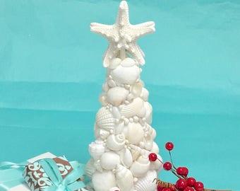 Seashell Christmas Tree - Sale Priced! Tabletop Beach Decor Coastal Christmas