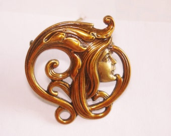 Lady Brooch Gold Tone Brooch