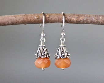 Carnelian Earrings - Bali Silver Jewelry - Carnelian Jewelry - Wire Wrapped Earrings Silver - Orange Gemstone Earrings - Gift for Her