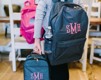 Girls Personalized Backpack Set, Navy and Mini Polka Dot Monogram Backpack with Matching Lunch Box Tote