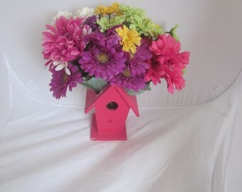 BIRDHOUSE FLORAL PLANTER Wooden Box Vase