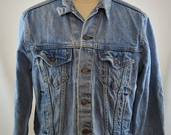 Vintage LEVI'S 1980's Denim Trucker Jean Jacket Type III 4 pocket SZ 46R