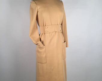 Vintage 70s Norman Norell Wool Dress, Dusky Peach Beige, High Collar, Buttons, Self Belt, Long Sleeve, Patch Pockets, Mid Calf, Minimalist