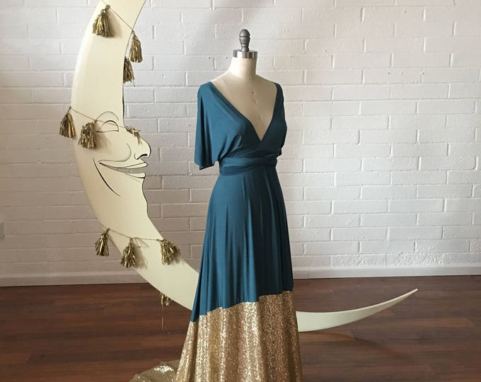 Gilded Gold Sequin Dipped Bella Luna Infinity Convertible Dress ~No Train- Custom Choose your fabrics. Holiday Dress, Prom, Military Ball