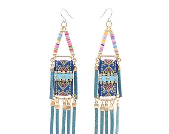 Blue beaded tassel earrings - surgical steel earrings, rainbow colourful unique statement earrings, stainless steel earwires nickel free