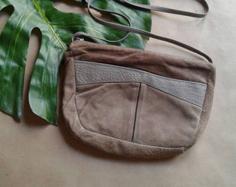 Taupe Suede CrossBody | 90s vintage cross body strap ergonomic small slim light brown new wave small purse BAG