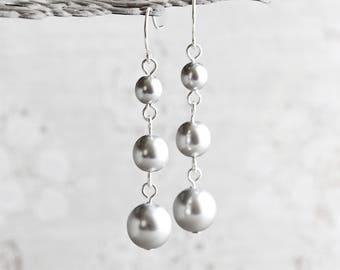 Light Silver Gray Crystal Pearl Dangle Earrings on Silver Plated Hooks