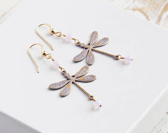 Lilac Purple Dragonfly Earrings with Crystal Accents on 14K Gold Filled Hooks