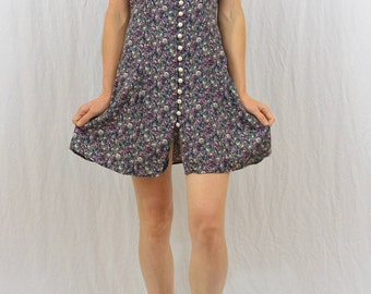Vintage Floral Mini Dress, Size Small, Grunge, My So Called Life, Back to School, Faux Pearl Buttons, Mori Girl, 90's Clothing