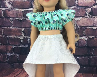 18 inch doll clothes AG doll clothes Blue floral dress made to fit dolls like american girl doll clothes.
