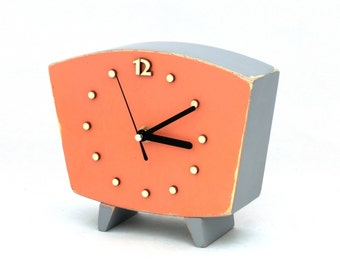 Table clock, Wood Clock Orange Black, Desk Wooden clock, Handmade Unique Gift, Vintage style, Gray Orange decor, Autumn trends