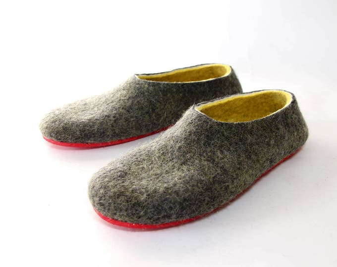 Mens House Slippers, Boiled Wool Slippers Felted Slippers, Warm Slippers, Natural Slippers With 7 Color Rubber Soles, Boyfriend Gift For Him