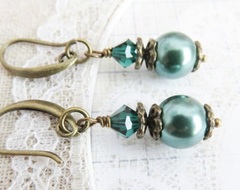 Teal bridesmaid earrings,  dangle pearl earrings, rustic wedding jewelry, bronze jewelry, bridal party gift