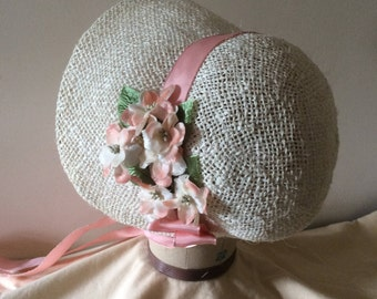 Regency/Victorian Straw Bonnet. Jane Austen. Peach and Cream trims.