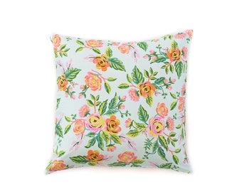 Floral Light Mint Pillow Cover