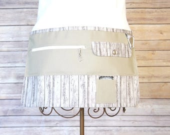 Vendor Apron, Utility Apron, Teacher Apron - Beige with Barnwood - Ready to Ship