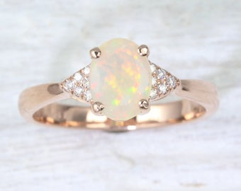 Natural Opal Engagement Ring, Opal Wedding Ring Rose Gold Antique Style Engagement Ring, Vintage Opal Ring, Bridle Gold Ring, Opal Gold Ring